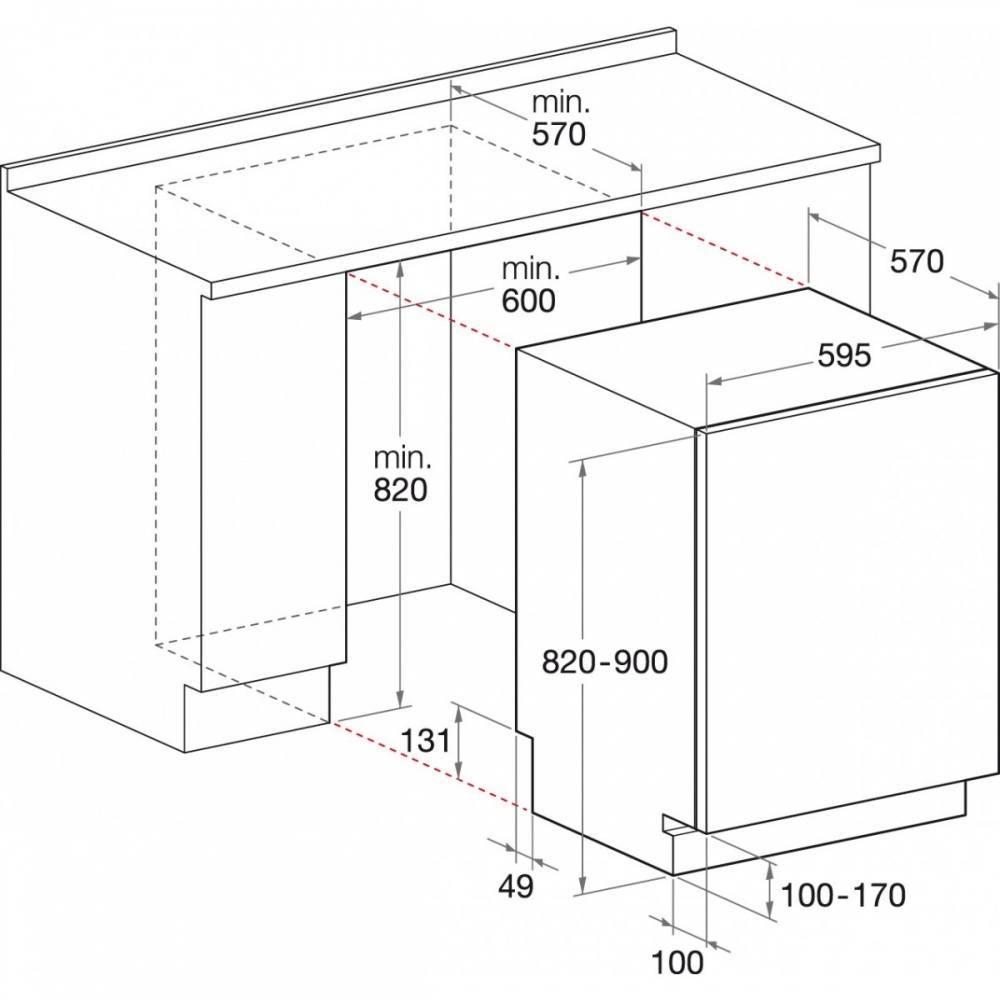 Параметры встраивания посудомоечной машины Hotpoint-Ariston LSTB 4B00