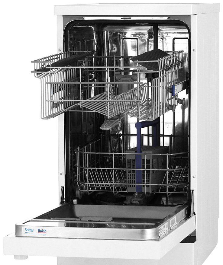 Внутреннее пространство посудомойки Беко DFS 05010 W