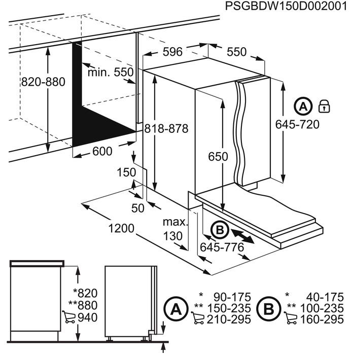 Параметры встраивания посудомойки Электролюкс ESL95201LO