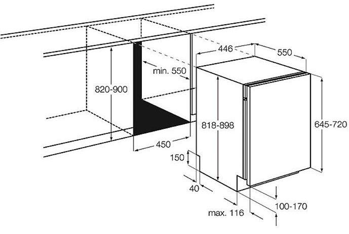 Параметрі встраивания посудомоечной машины Electrolux ESl9450LO