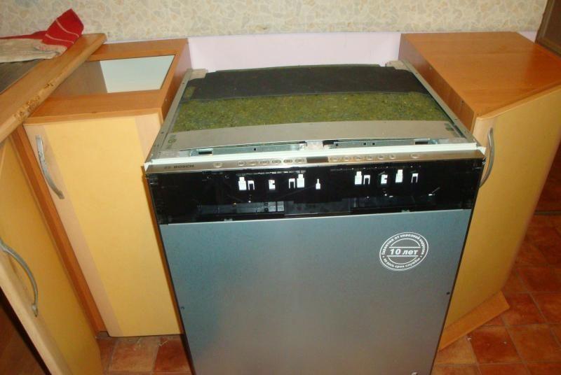 Устновка посудомоечной машины после снятия столешницы