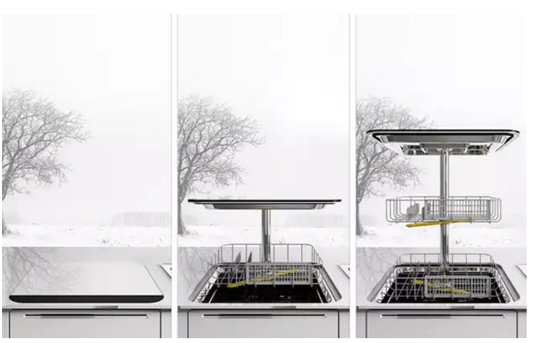 Вертикальная посудомойка с двумя корзинами