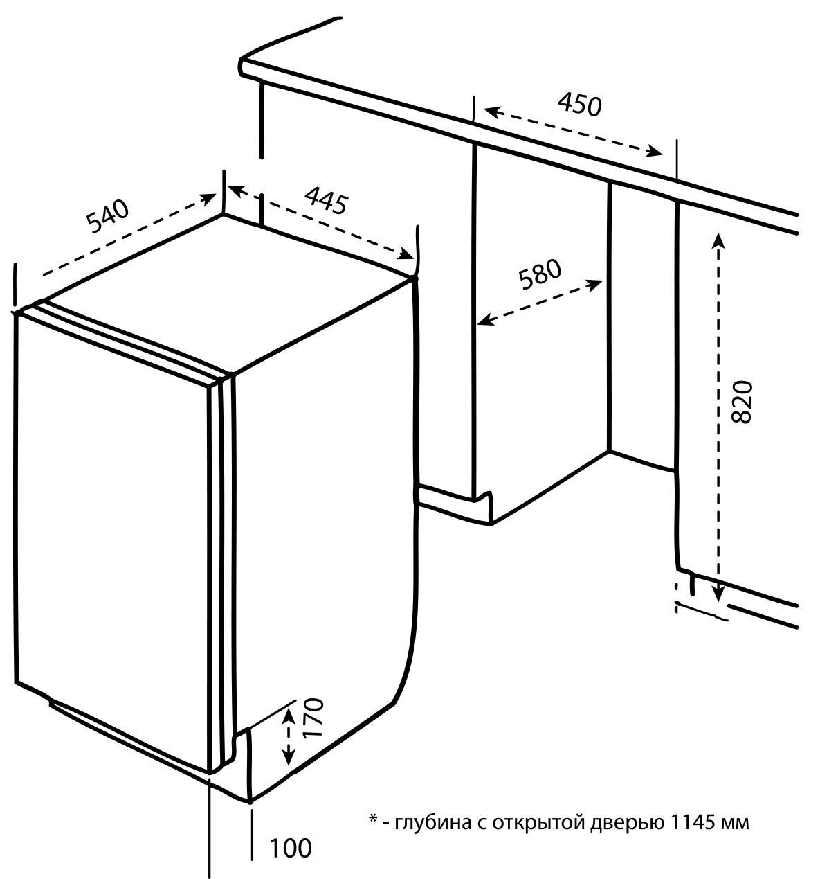 Схема встраивания посудомойки Korting KDI 4530